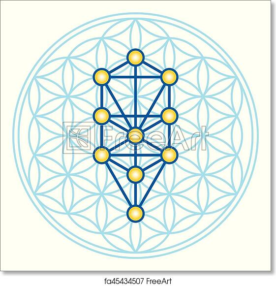 Free Art Print Of Flower Of Life In Tree Of Life Illustration