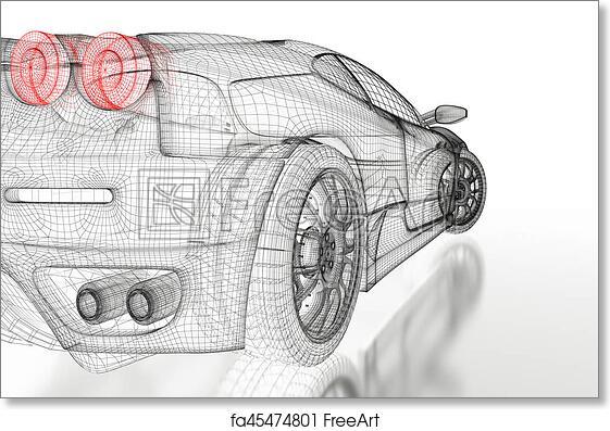 Free art print of 3d car mesh on a white car vehicle 3d blueprint free art print of 3d car mesh on a white malvernweather Choice Image