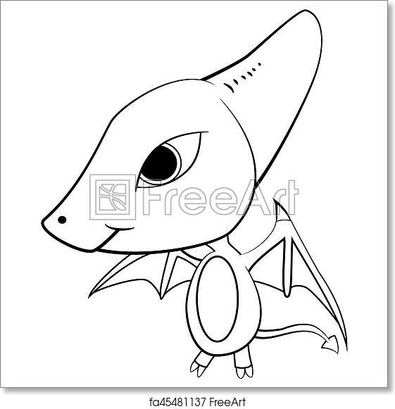 Clip Art Illustration Of Cute Cartoon Of Baby Pterodactyl Dinosaur Freeart Free Art Print Of Cartoon Of Baby Pterodactyl Dinosaur Illustration