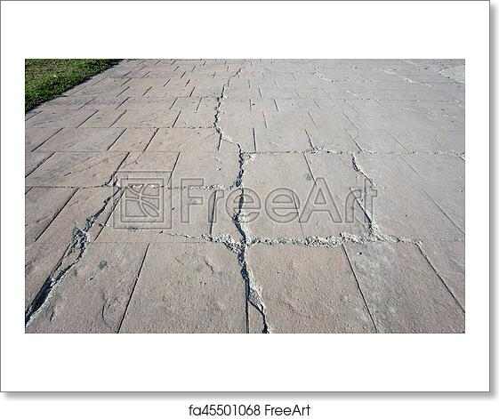 Free Art Print Of Big Break On Damaged Stamped Concrete Pavement Outdoor Appearance Colors And Textures Paving Slate Stone Tile Cement