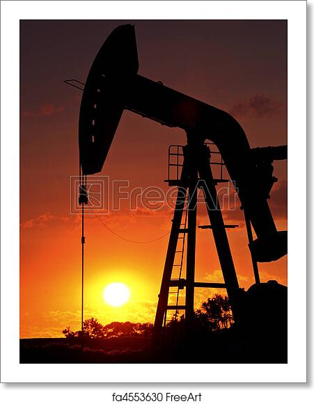 rig art free art print of oil rig pump jack silhouetted by setting sun
