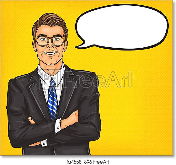 free art print of confident pop art man in a suit and glasses