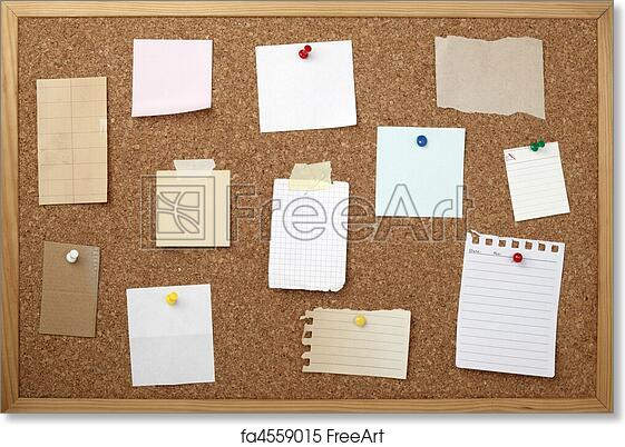 free art print of brown old paper note background cork board