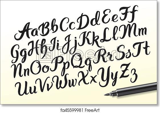 Free art print of Hand drawn brushpen alphabet letters. Hand drawn ...