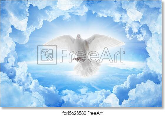 Free Art Print Of White Dove Symbol Of Love And Peace Flies Above