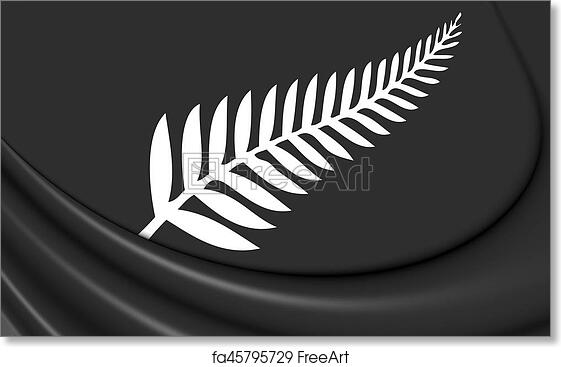 New Zealand Silver fern painting wall artwork flag print all black art canvas