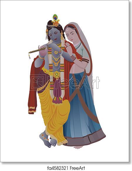 Free Art Print Of Radha Krishna Lord Krishna With Goddess Radha Freeart Fa4582321