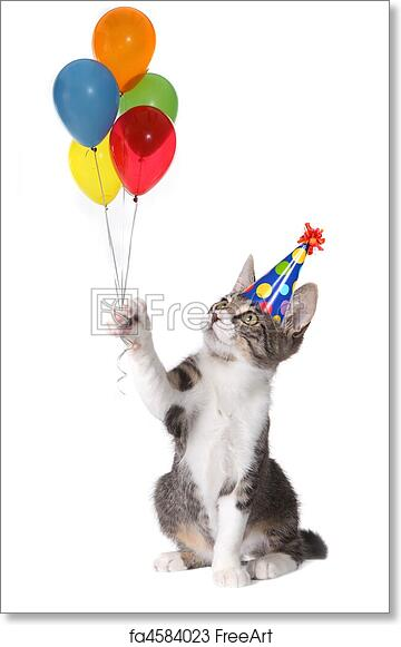 Free Art Print Of Cat Holding Birthday Balloons Wearing A Silly Hat