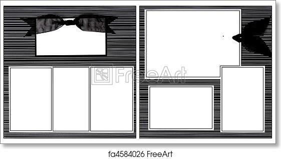 Free art print of Black Ribbon Scrapbook Frame Template. Stripes and ...