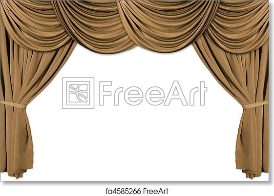 Free Art Print Of Gold Theater Stage Draped With Curtains