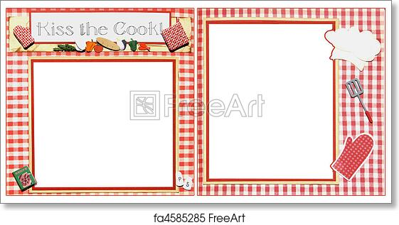 free art print of cooking scrapbook frame template chef square