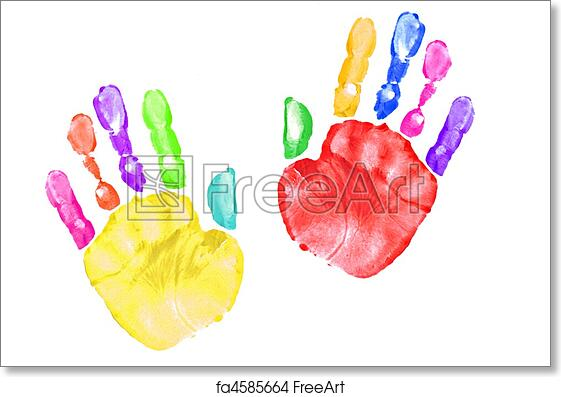 photo regarding Printable Handprints called Absolutely free artwork print of Colourful Youngster Hand Prints