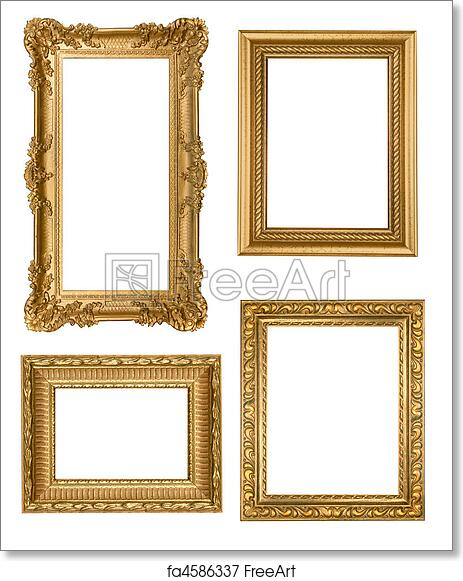 Free art print of Vintage Detailed Gold Empty Picure Frames ...