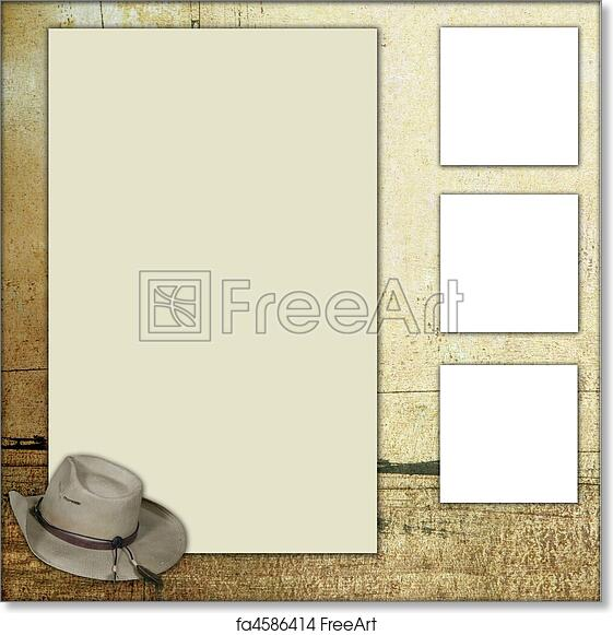free art print of country theme scrapbook frame template