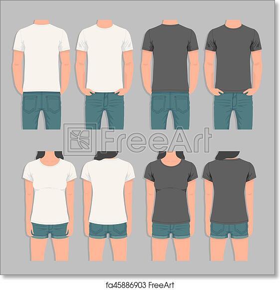Free Art Print Of Men And Women T Shirt Design Template T Shirt Men And Women Back And Front Human Body Silhouette Freeart Fa45886903