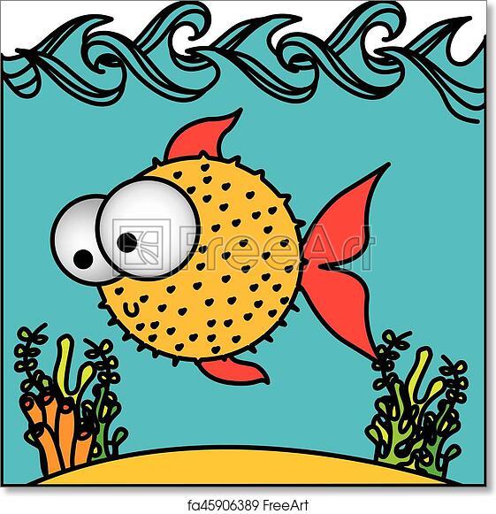 Free Art Print Of Surprised Balloon Fish Cartoon Inside Aquarium