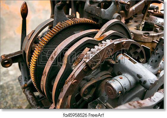 Free art print of Old printing press - rotary machine - polygraphic  equipment - big cog wheel