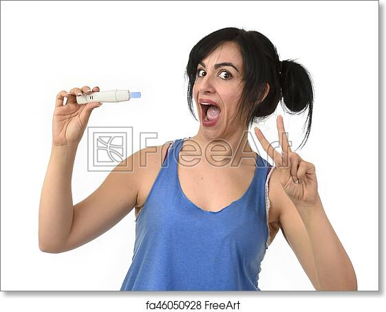 Free art print of Pregnant woman happy and relieved checking blue negative  result on pregnancy test