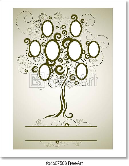 Free art print of Vector family tree design with frame. Vector ...