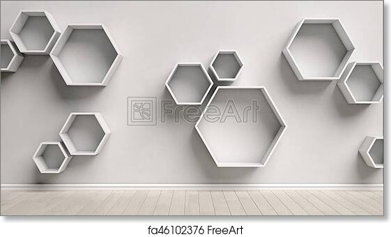 Free Art Print Of Empty Interior With Hexagon Shelves With Hexagon Shelves