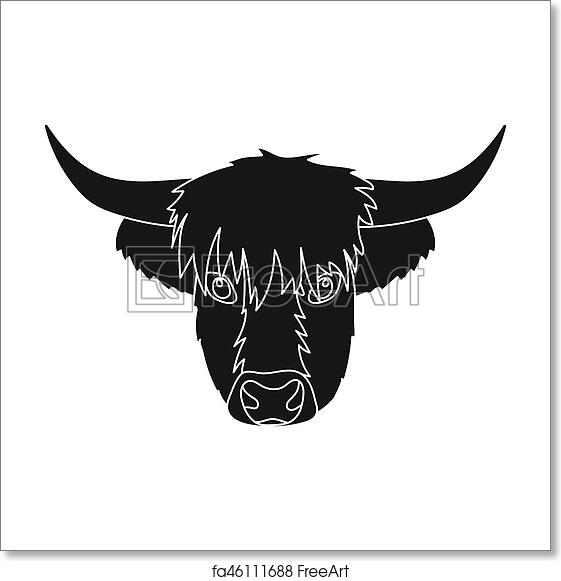 Free Art Print Of Highland Cattle Head Icon In Black Style Isolated