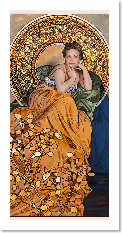 Art Nouveau Styled Woman With Flowers Art Print Home Decor ...