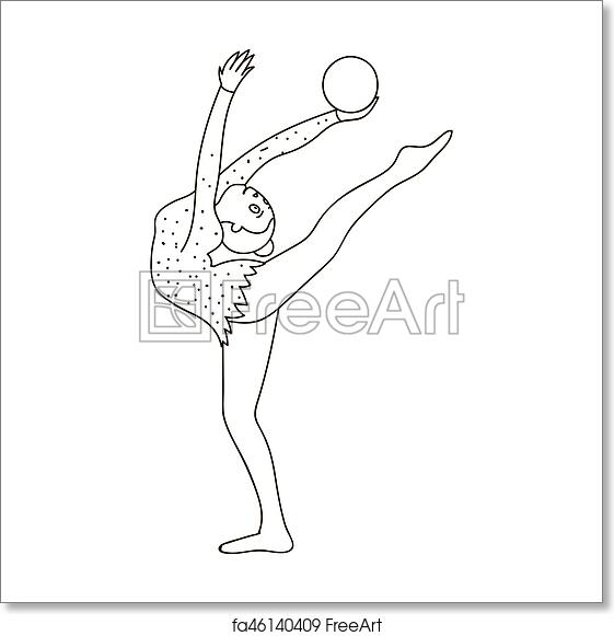 Free Art Print Of Skinny Girl With Ball In Hand Dancing Sports Dance