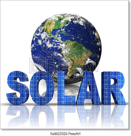 free art print of word solar with 3d globe freeart fa4623326