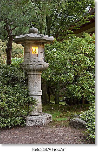 Free Art Print Of Stone Lantern At Japanese Garden 2. Stone Lantern At  Portland Japanese Garden Lit At Dawn 2   FreeArt   Fa4624879