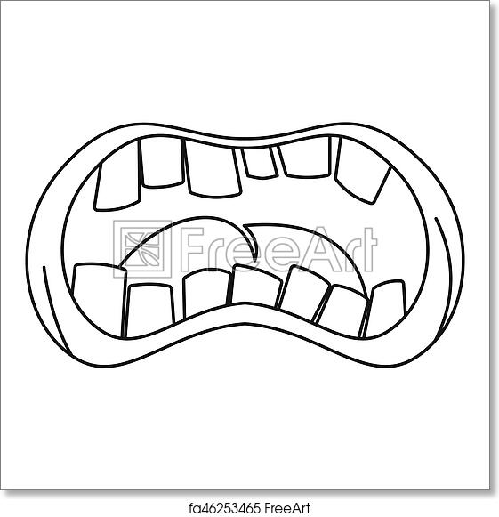 free art print of open mouth with crooked teeth icon outline style