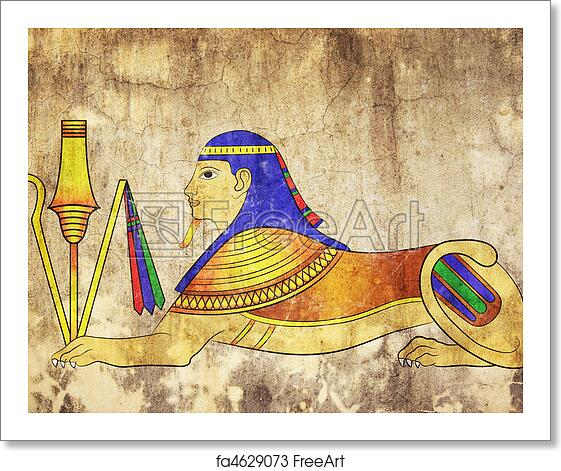 Free art print of sphinx mythical creature of ancient for Egyptian mural art
