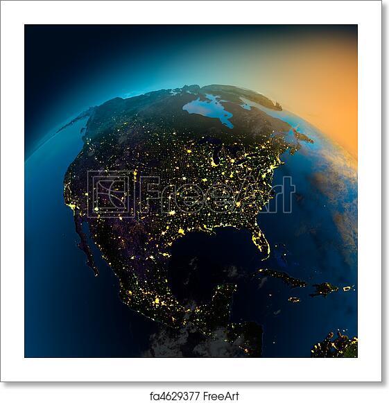 Free Art Print Of Night View Of North America From The Satellite - North america satellite image