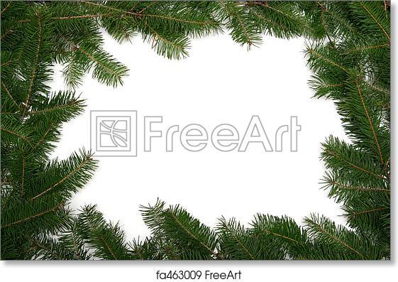 Free art print of Christmas tree frame. Christmas tree twigs on a ...