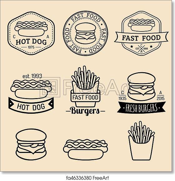 Free art print of Vector vintage fast food logos set. Retro eating ...