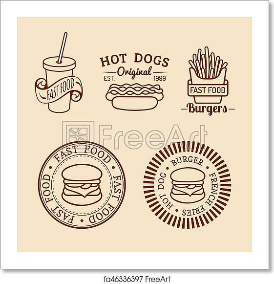 Free art print of Vector vintage fast food logos set. Retro eating signs  collection. Bistro, snack bar, street restaurant icons.