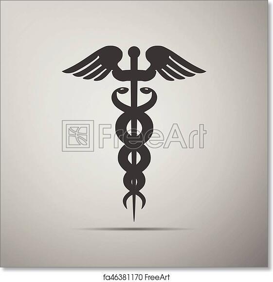 Free Art Print Of Caduceus Medical Symbol With Long Shadow Caduceus