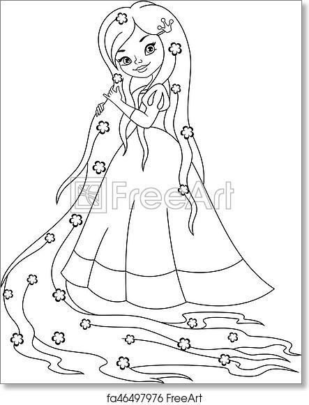 Free Art Print Of Princess Rapunzel Coloring Page Princess With