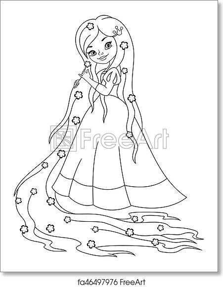 Free Art Print Of Princess Rapunzel Coloring Page Princess With