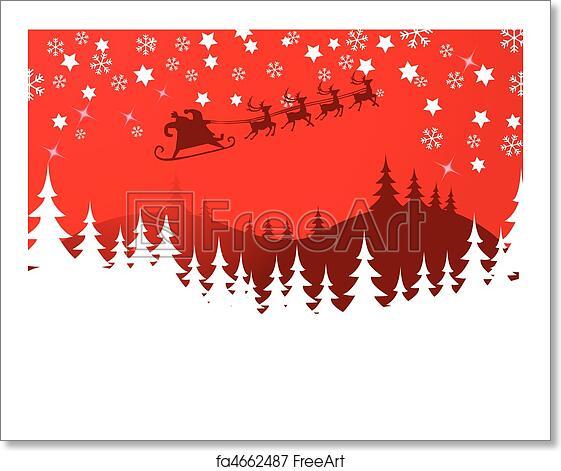 Christmas Reindeer Silhouette.Free Art Print Of Flying Santa And Christmas Reindeer