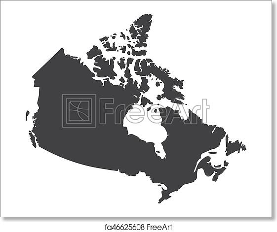 Map Of Canada Silhouette.Free Art Print Of Canada Map In Black On A White Background Vector Illustration