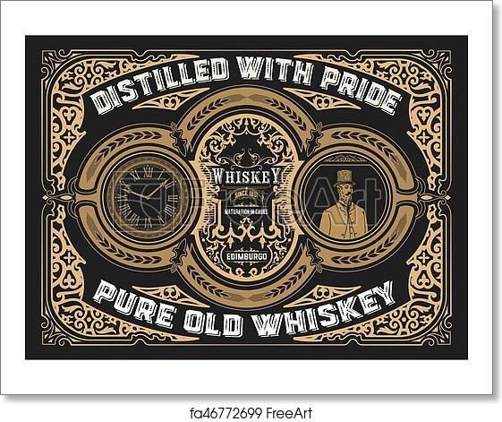 free art print of vintage whiskey label freeart fa46772699