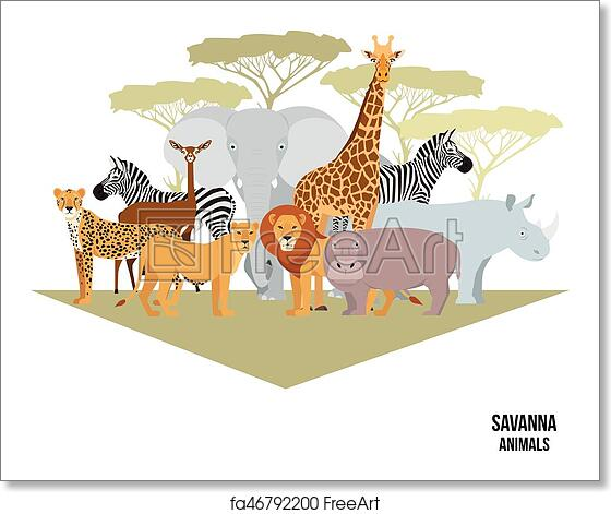 Free art print of African animals of savanna elephant, rhino, giraffe,  cheetah, zebra, lion, hippo isolated cartoon vector illustration for a book