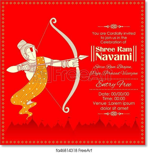 Free art print of Lord Rama with bow arrow killing Ravana in Ram Navami
