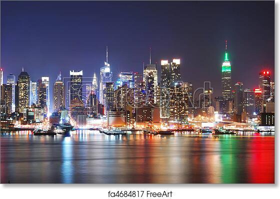 New York City Night Skyline Cityscape View Wall Art Poster Matte//Photo Luster