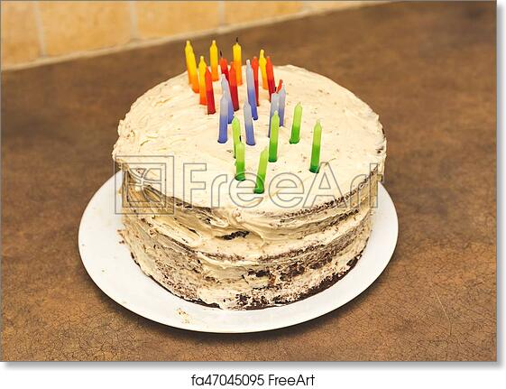 Free Art Print Of Homemade Cake With Birthday Candles