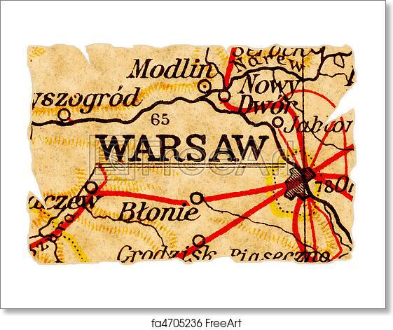 Free art print of Warsaw old map. Warsaw or Warszawa, Poland on an ...