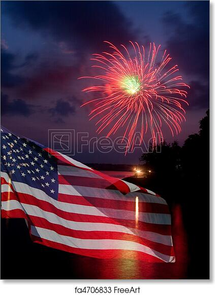 free art print of fireworks and american flag