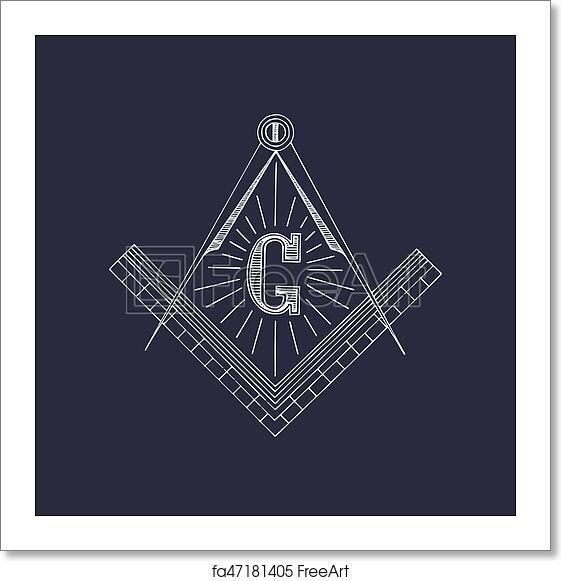 Free art print of Masonic square and compass symbols  Hand drawn  freemasonry logo, emblem  Illuminati vector illustration