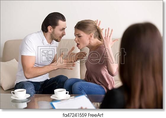 Free art print of Family psychologist counseling  Couple quarrelling,  shouting and