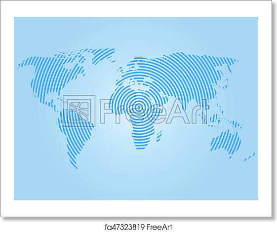 Free art print of world map of blue concentric rings on white free art print of world map of blue concentric rings on white background worldwide communication radio waves concept modern design vector wallpaper gumiabroncs Gallery